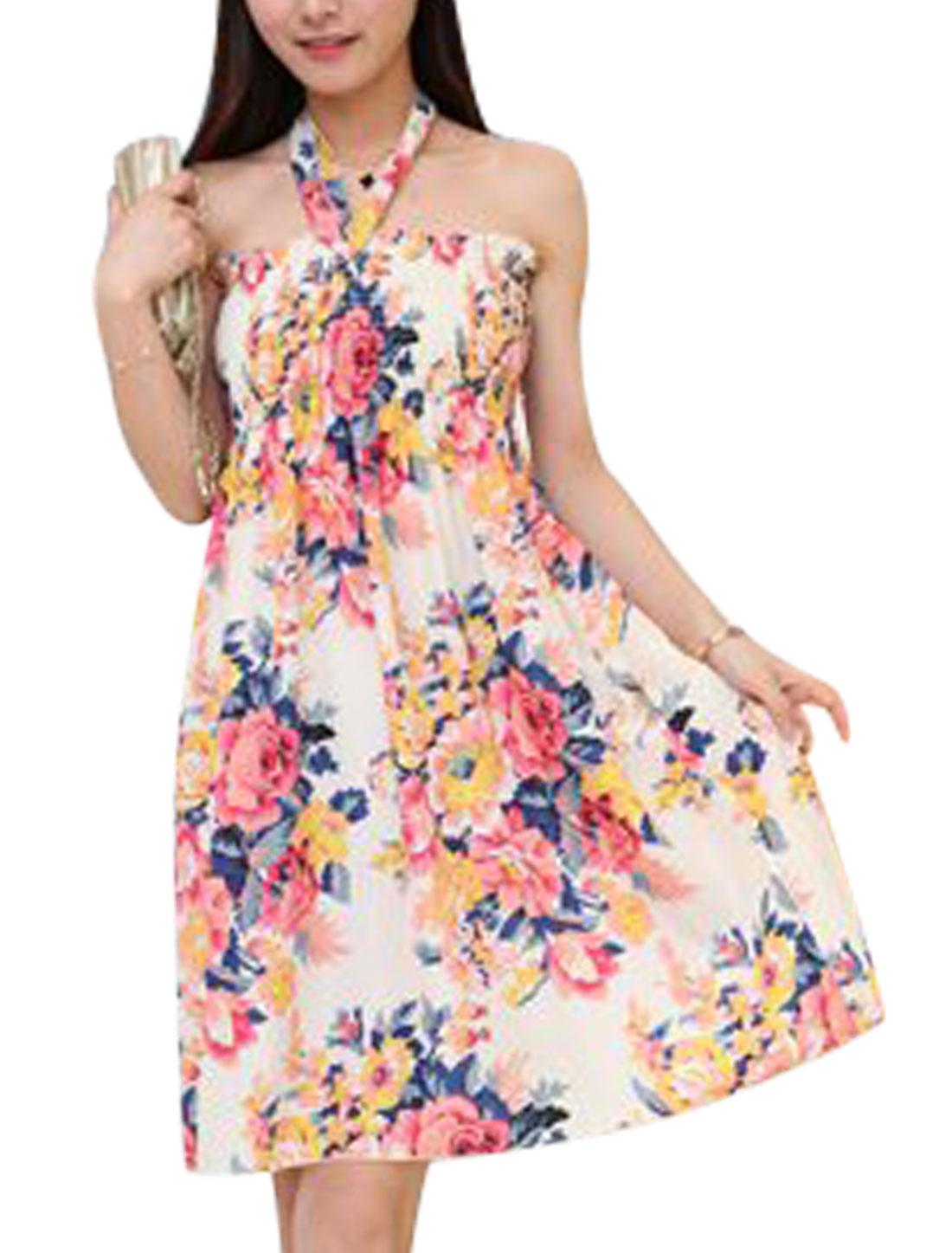 Ladies Halter Neck Flower Prints Sleeveless A Line Dress Beige S