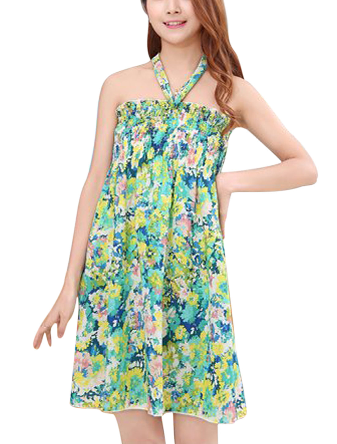 Ladies Halter Neck Floral Print Smocked Bust Ruched Dresses Aqua Yellow S