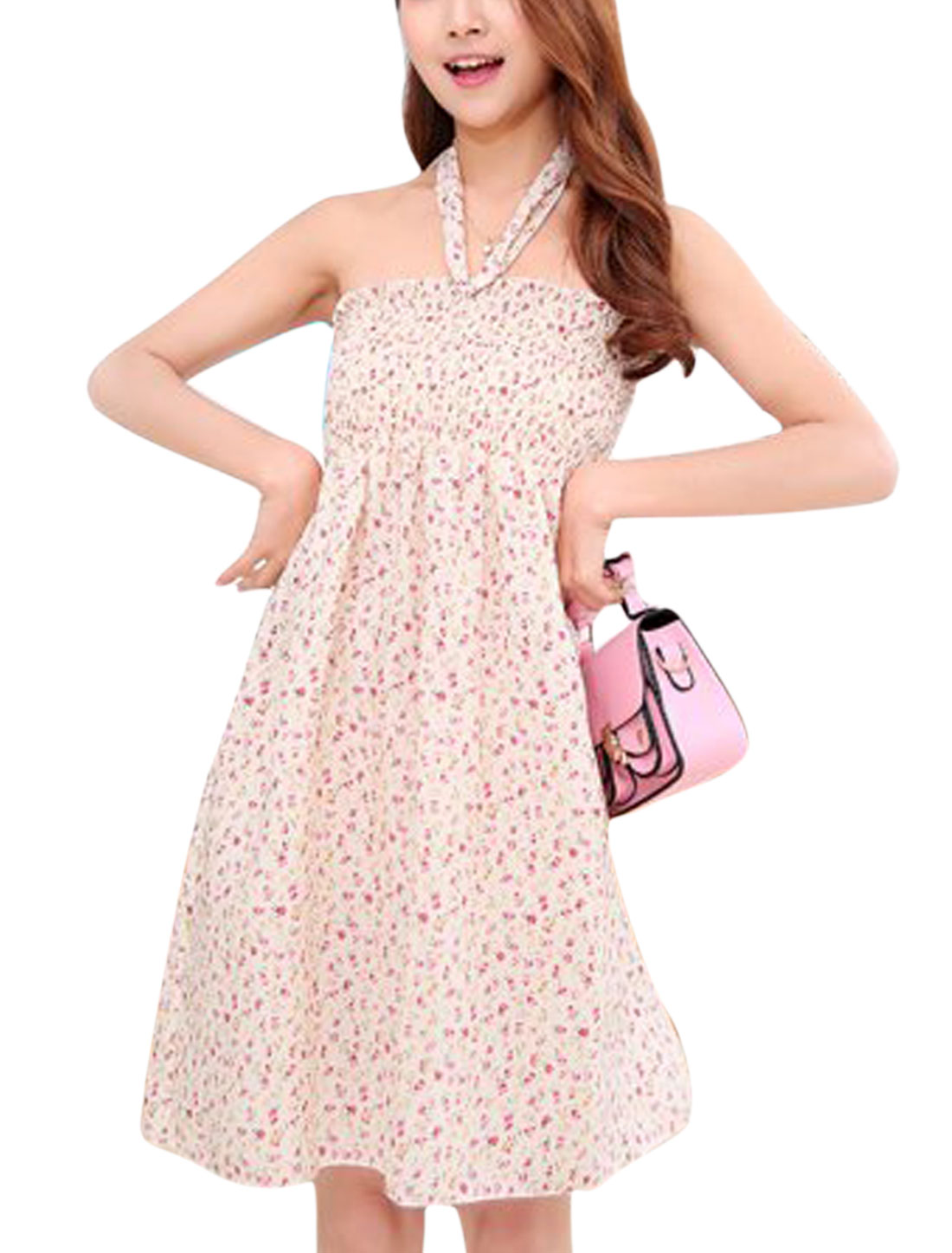 Ladies Halter Neck Floral Print Smocked Bust Ruched Dress Beige Fuchisa S