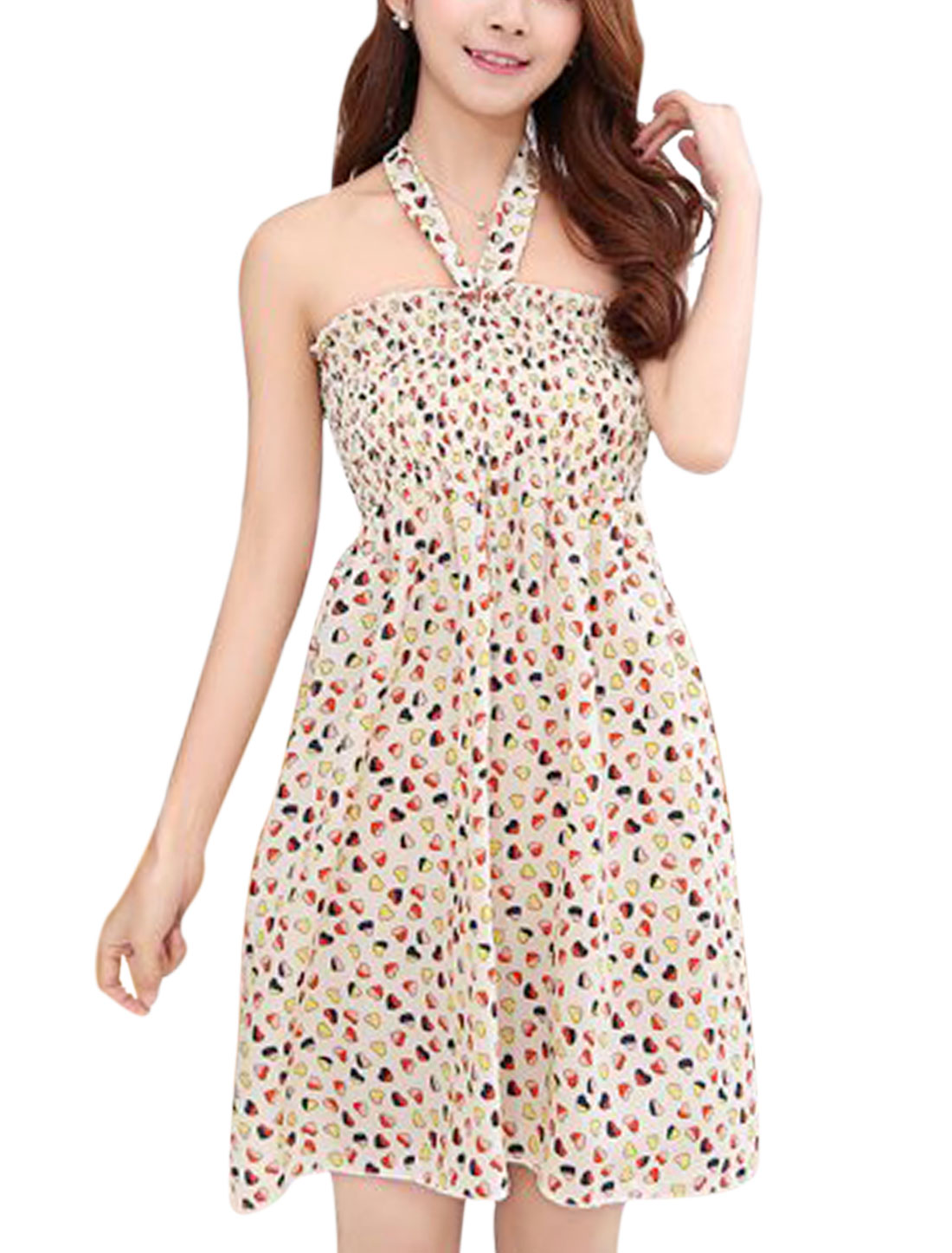 Women Halter Neck Hearts Print Smocked Bust Ruched Summer Dress Beige Yellow S
