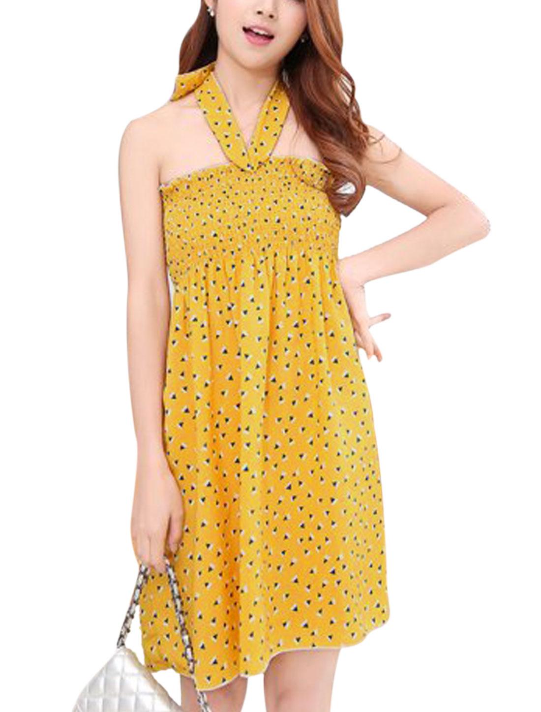 Women Halter Neck Geometric Print Smocked Bust Summer Dresses Curry S