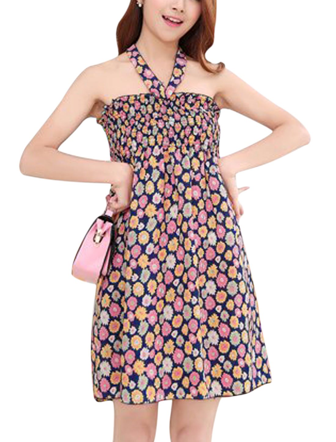Women Halter Neck Floral Print Smocked Bust Ruched Mini Dress Fuchsia Yellow S