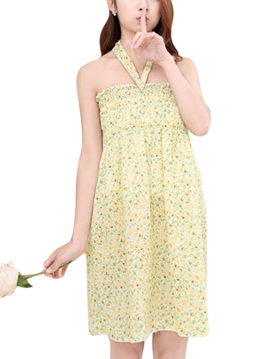 Women Halter Neck Flower Pattern Ruched Casual Mini Dresses Green Beige S