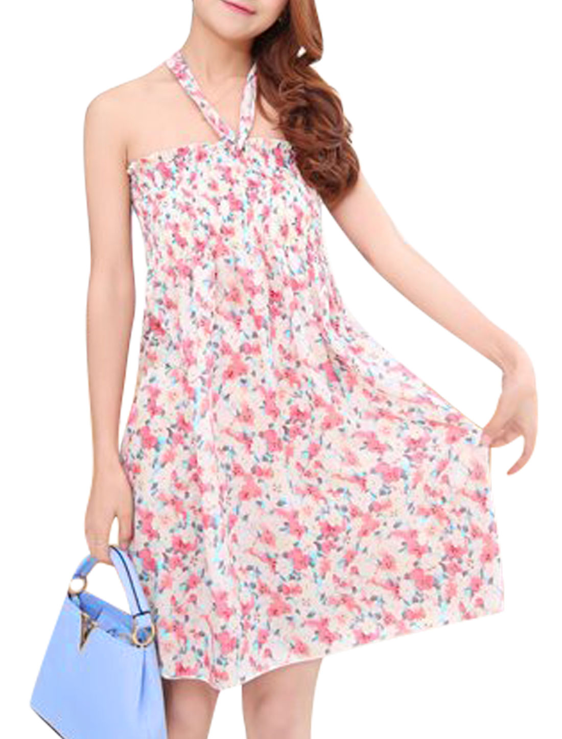 Women Floral Print Unlined Ruched Beach Dresses Fuchsia Beige S