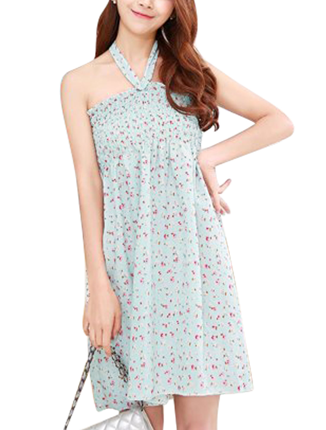 Ladies Floral Prints Halter Neck Smocked Bust Sundress Mint S