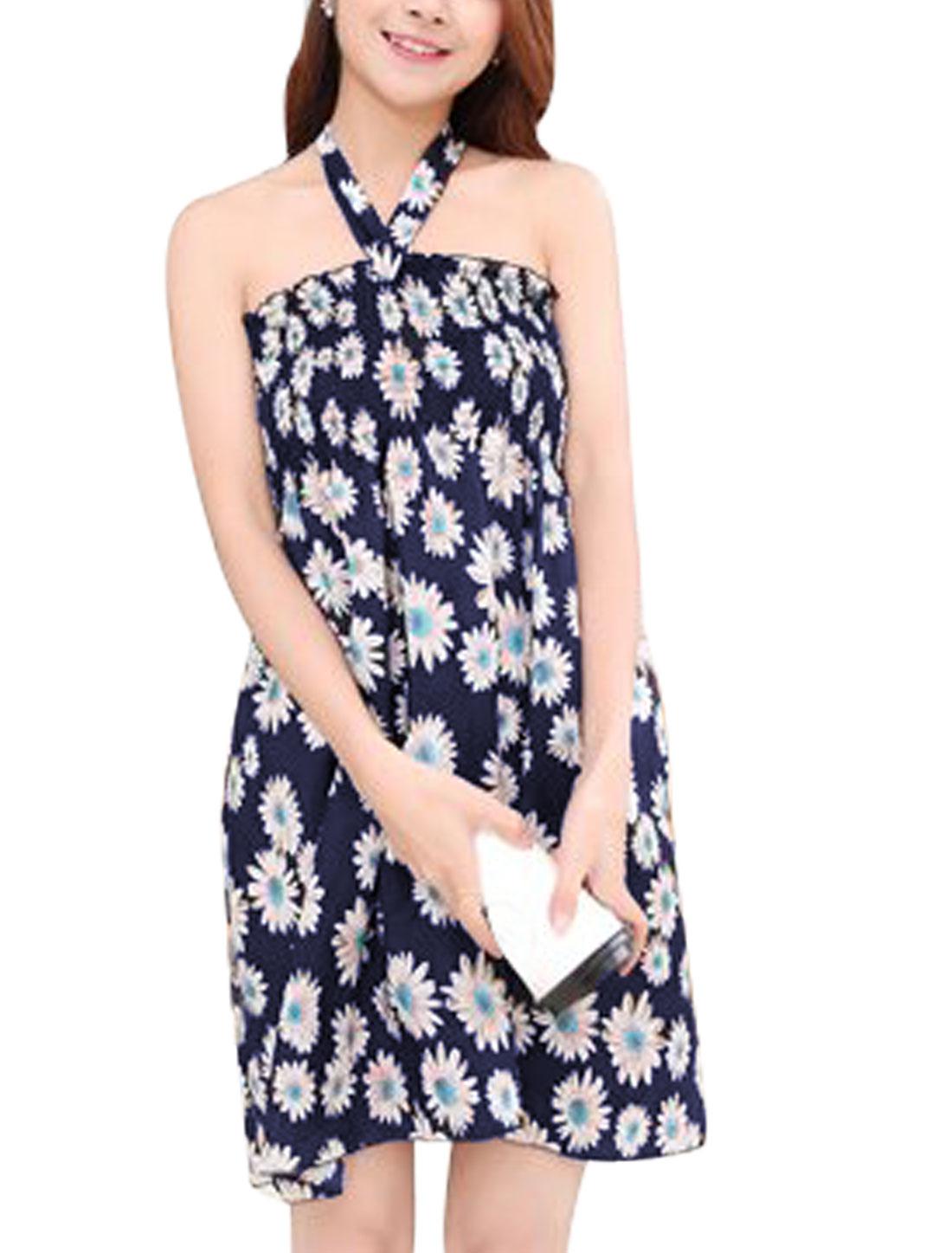 Woman Flower Prints Halter Neck Smocking Bust Sundress Navy Blue S