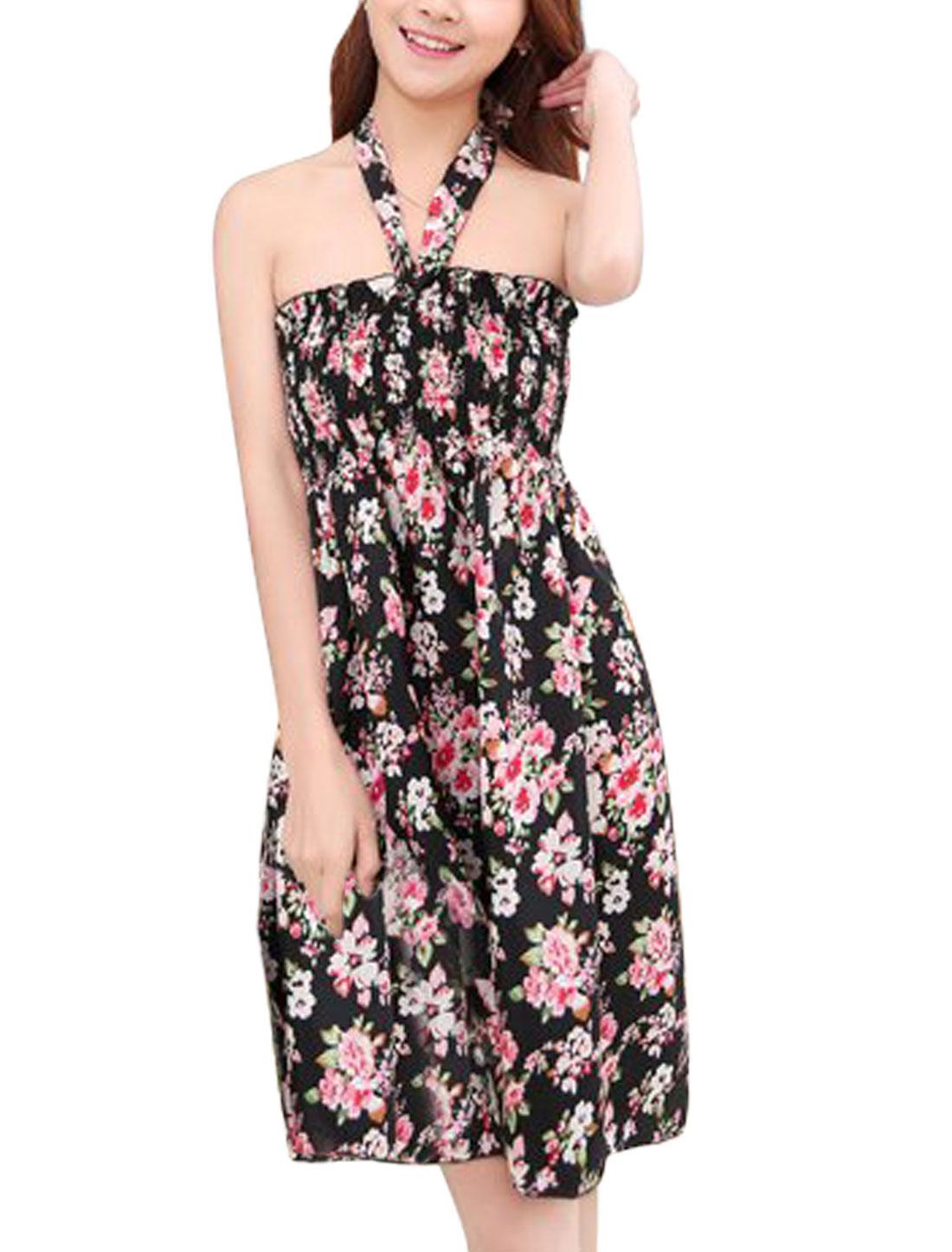 Woman Flroal Prints Smocking Bust Slipover Sleeveless A Line Dress Black S