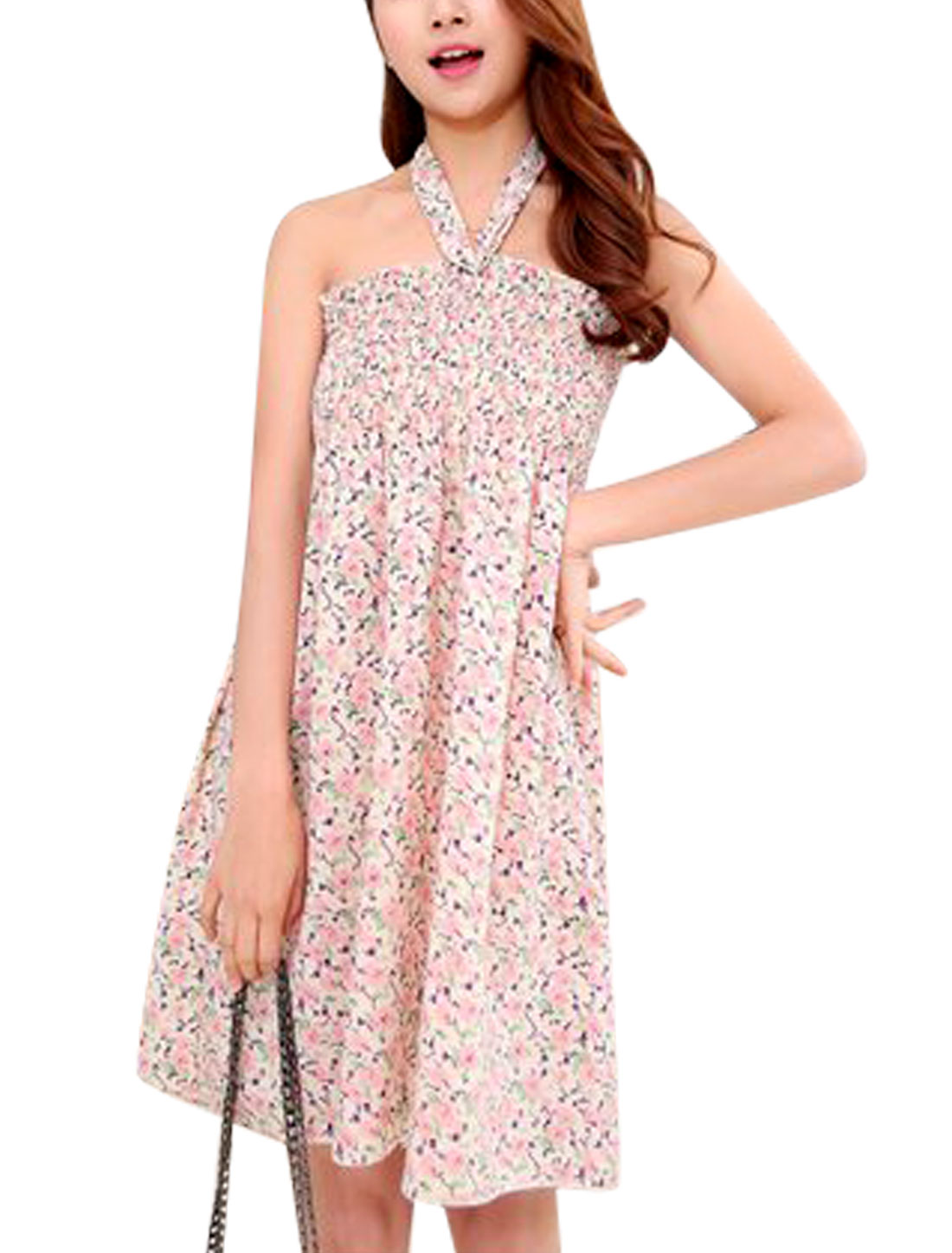 Lady Floral Prints Smocked Bust Unlined Sleeveless Sundress Beige S