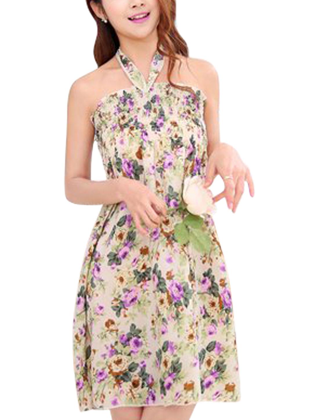 Women Halter Neck Sleeveless Flower Prints A-Line Dress Beige Light Green S
