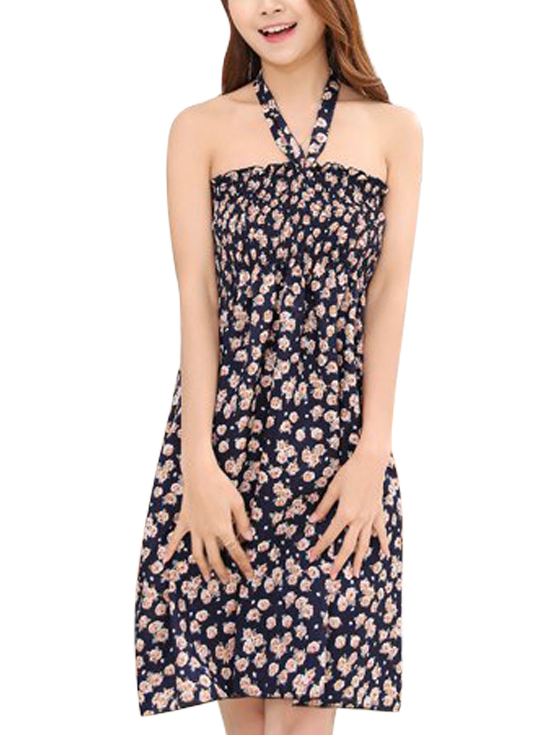 Ladies Sleeveless Smocked Bust Halter Neck Casual A-Line Dress Navy Blue S