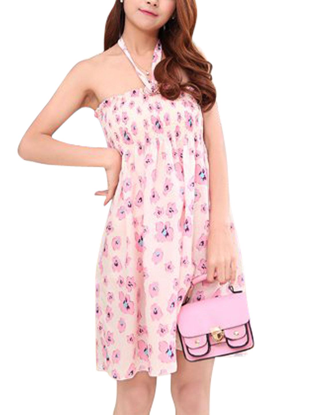 Ladies Sleeveless Flower Prints Unlined Smocked Bust A-Line Dress Beige Pink S
