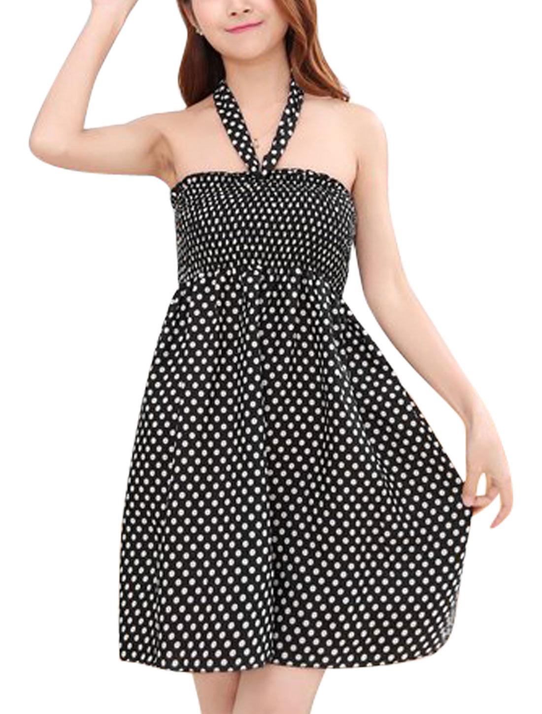 Women Halter Neck Smocked Sleeveless Dots Prints A-Line Dress Black S