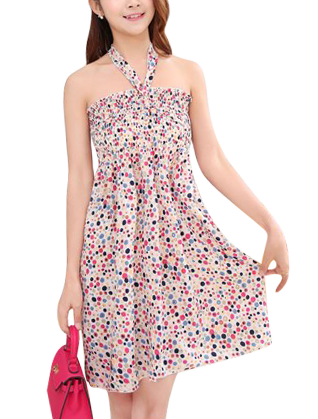 Ladies Halter Neck Dots Floral Print Casual Beach Dress Fuchsia Beige S