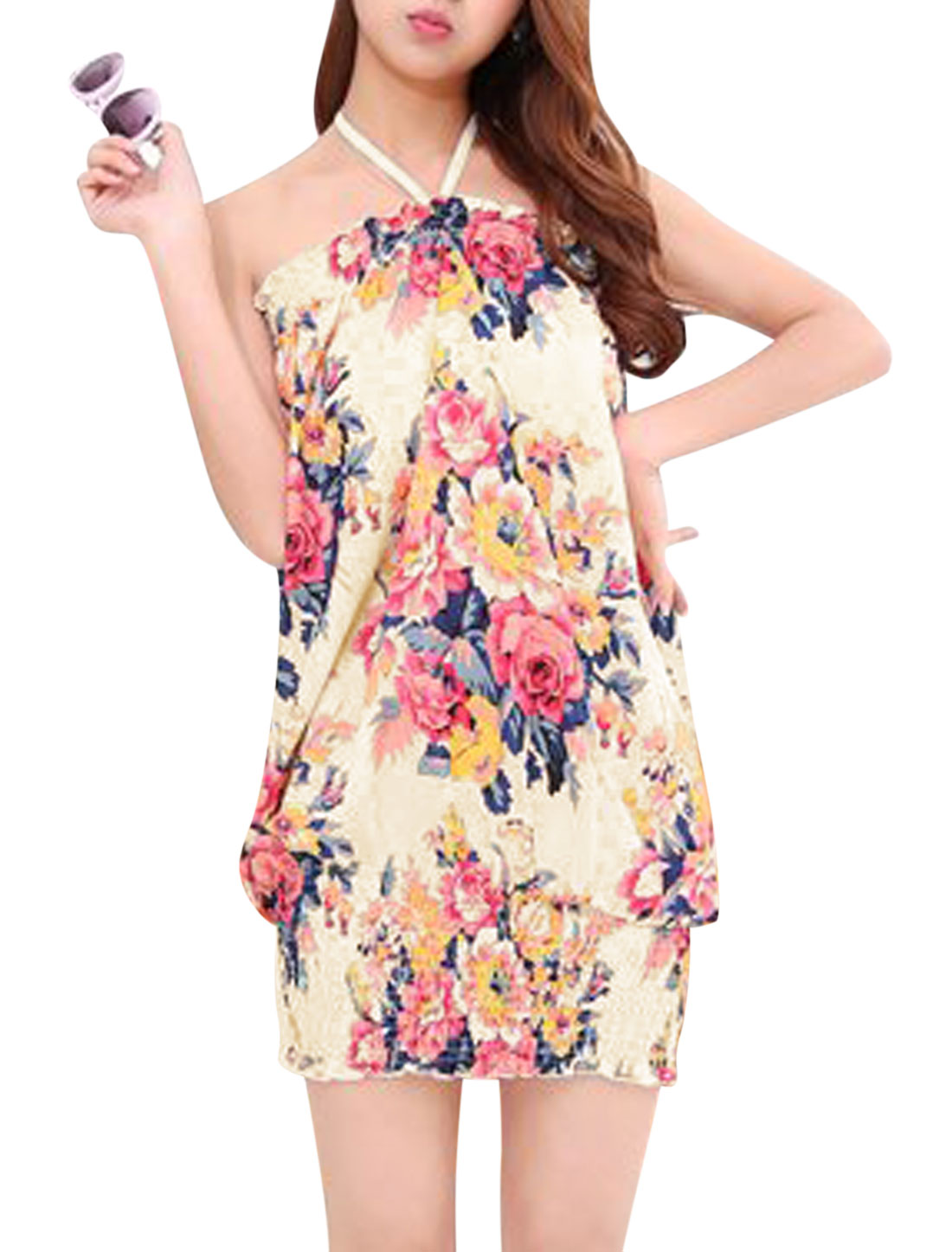 Women Halter Neck Sleeveless Floral Print Ruched Summer Dresses Beige Fuchsia S