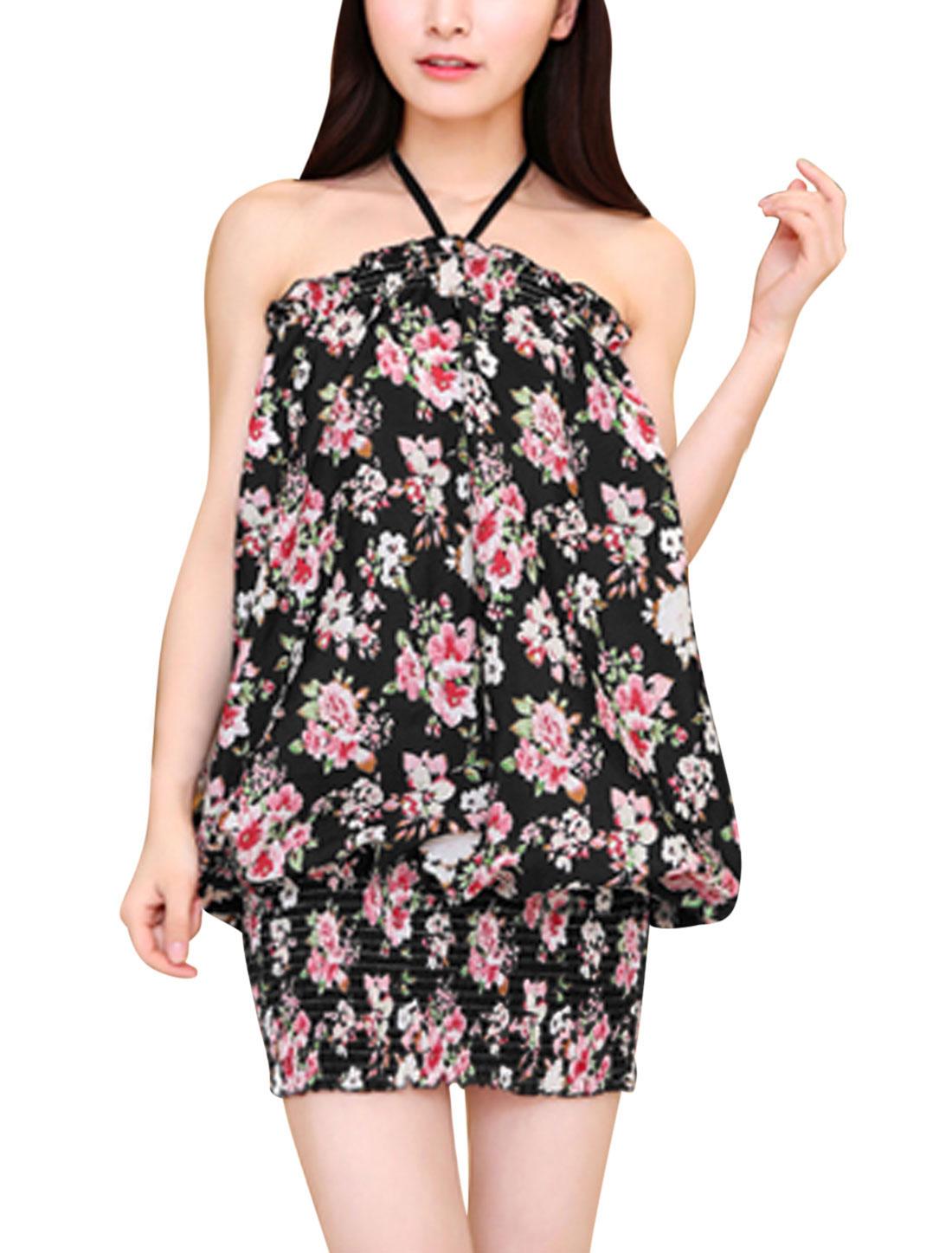 Woman Flower Prints Halter Neck Elastic Hem Unlined Summer Dress Black S