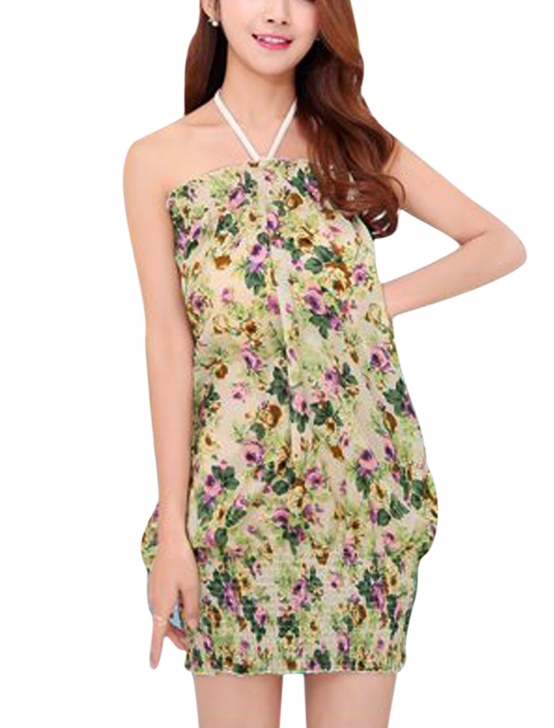 Women Halter Neck Flower Prints Unlined Sleeveless Sundress Green S
