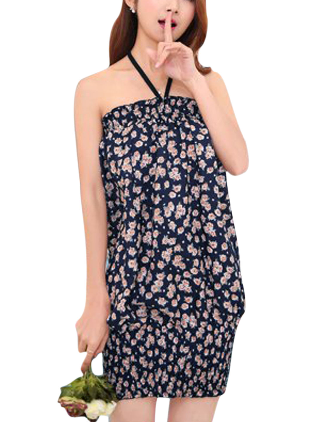 Ladies Halter Neck Sleeveless Elastic Hem Floral Dress Navy Blue S