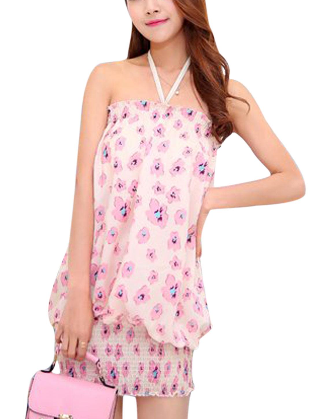 Women Halter Neck Flower Prints Smocked Hem Casual Sun Dress Pink S