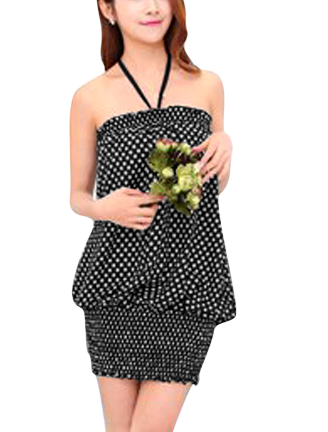 Women Halter Neck Dots Prints Sleeveless Unlined Sun Dress Black S