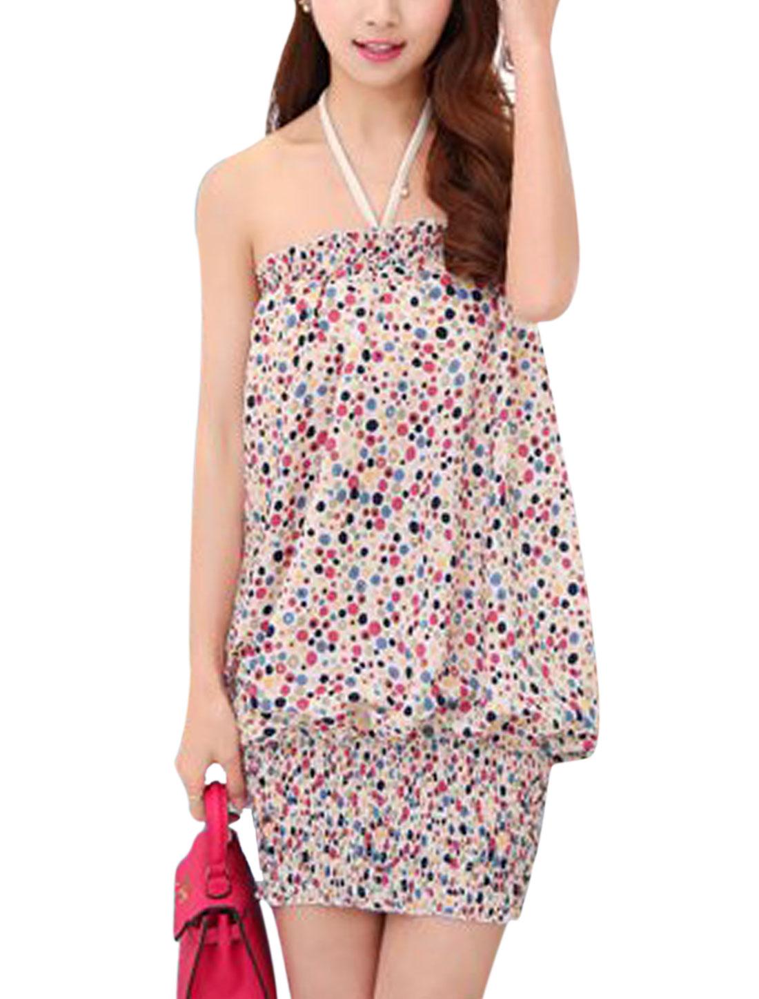 Women Halter Neck Flower Prints Smocked Hem Mini Dress Beige S