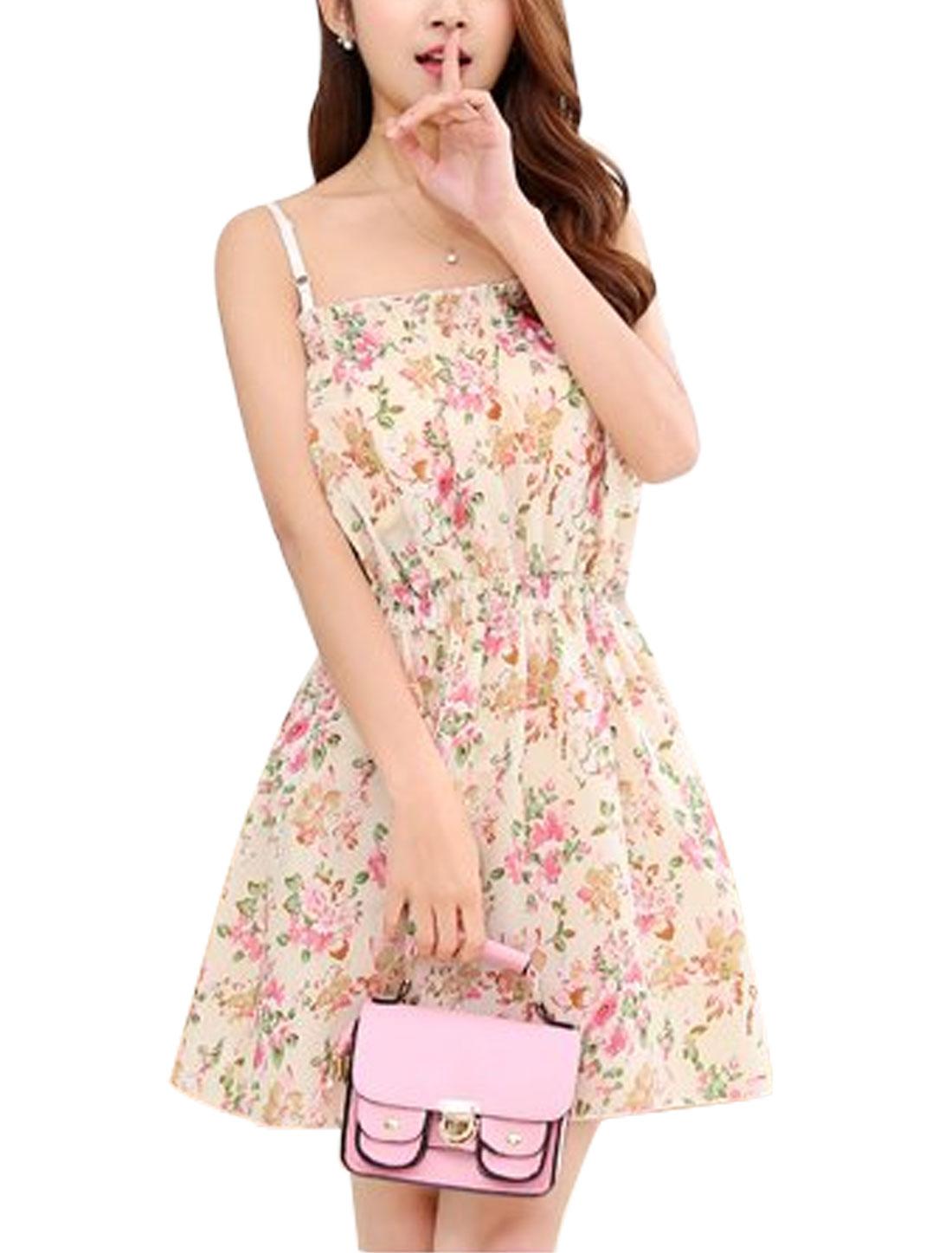 Woman Floral Prints Elastic Waist Adjustable Shoulder Straps Dress Beige XS