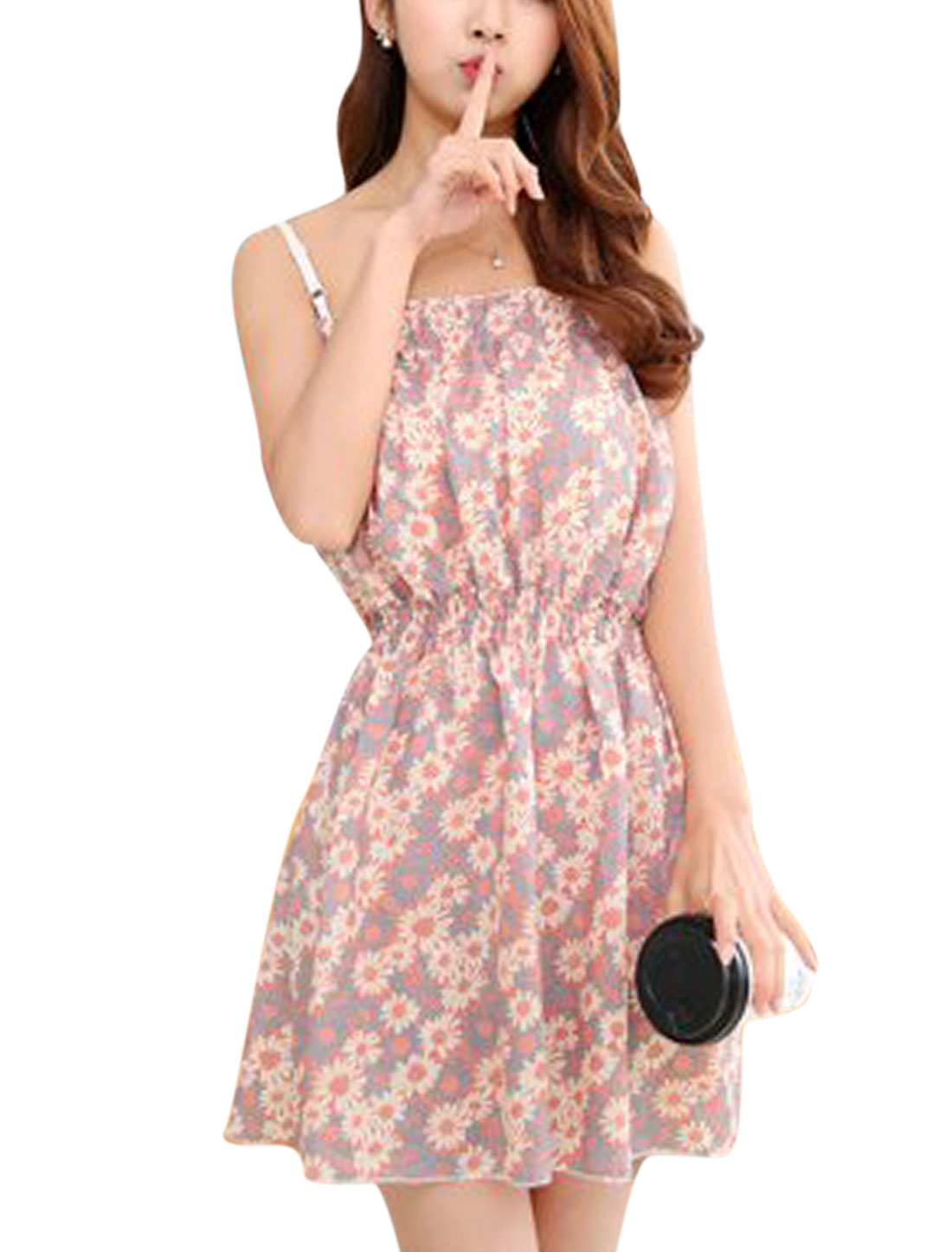 Woman Floral Prints Adjustable Spaghetti Strap Unlined A Line Dress Pink XS