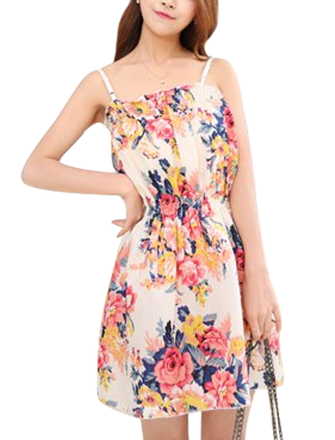 Ladies Flower Prints Square Neckline Sleeveless Tunic Dress Beige XS