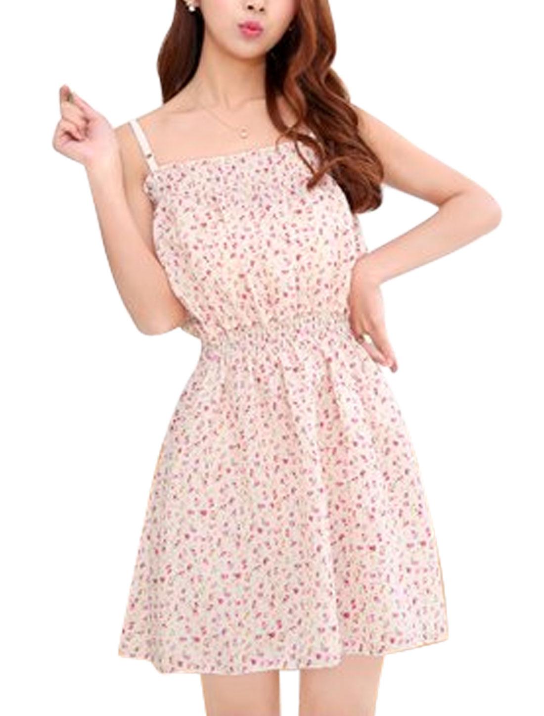Lady Floral Prints Adjustable Shoulder Straps Sundress Beige XS