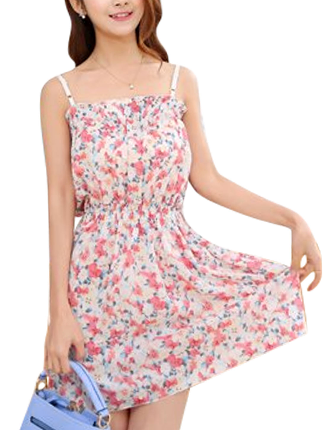 Ladies Sleeveless Spaghetti Straps Flower Prints Unlined Sundress Multicolor XS