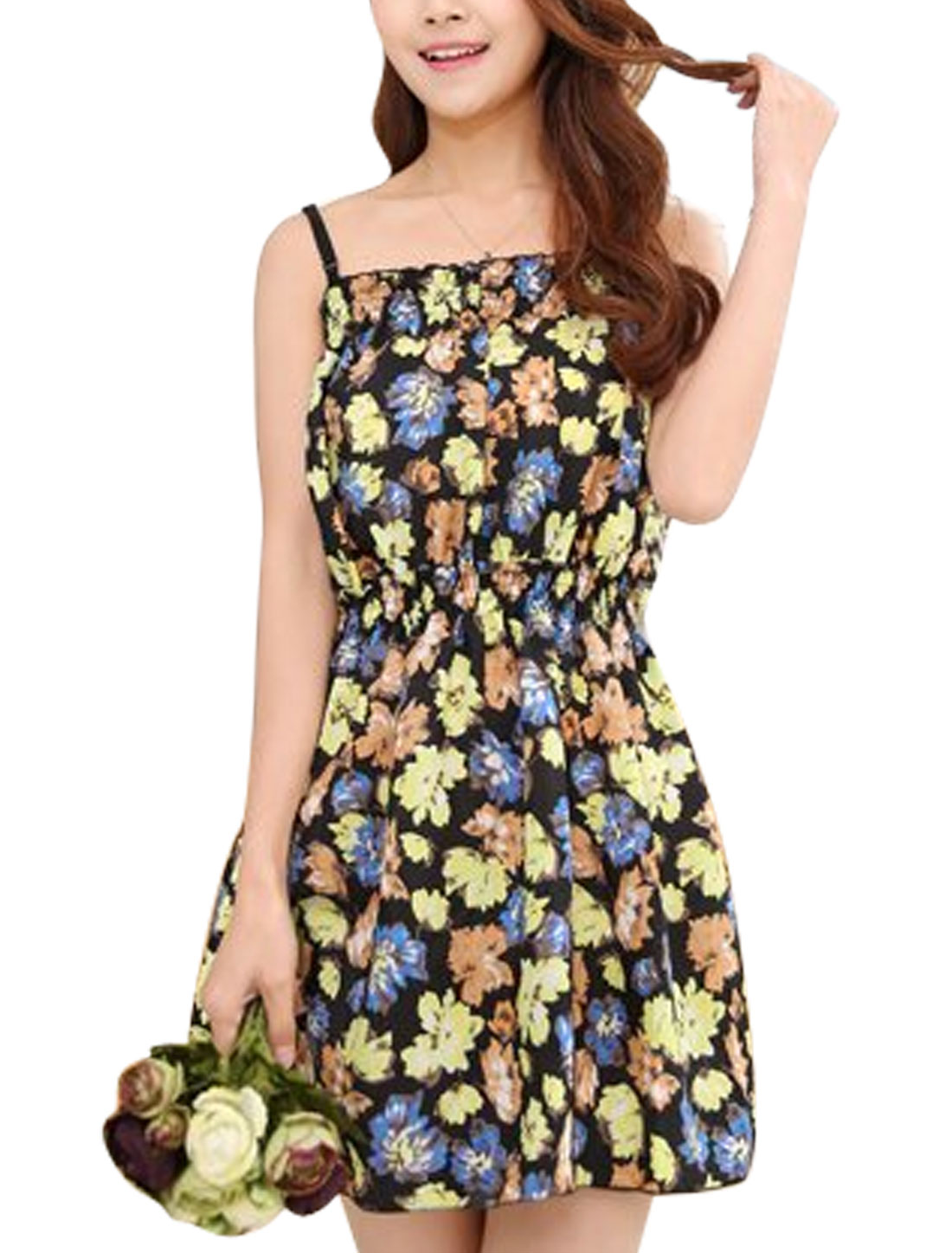 Ladies Sleeveless Flower Prints Unlined Casual Dresses Black XS