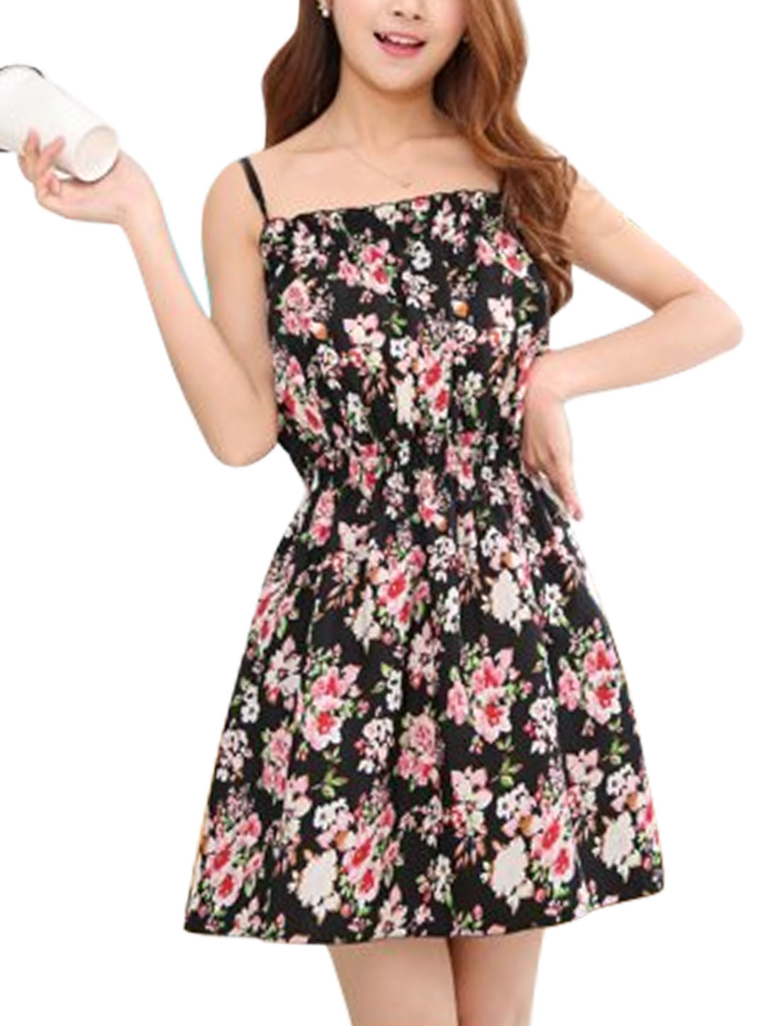 Women Sleeveless Flower Prints Elastic Waist Unlined A-Line Dresses Black XS