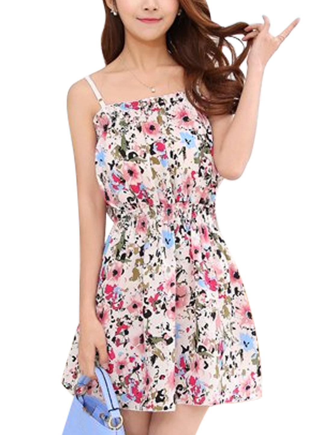Lady Sleeveless Elastic Waisted Floral Prints Sun Dress White XS
