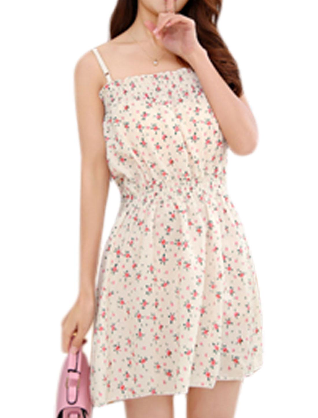 Women Floral Print Elastic Waist Spaghetti Strap Unlined Dress Beige Pink XS