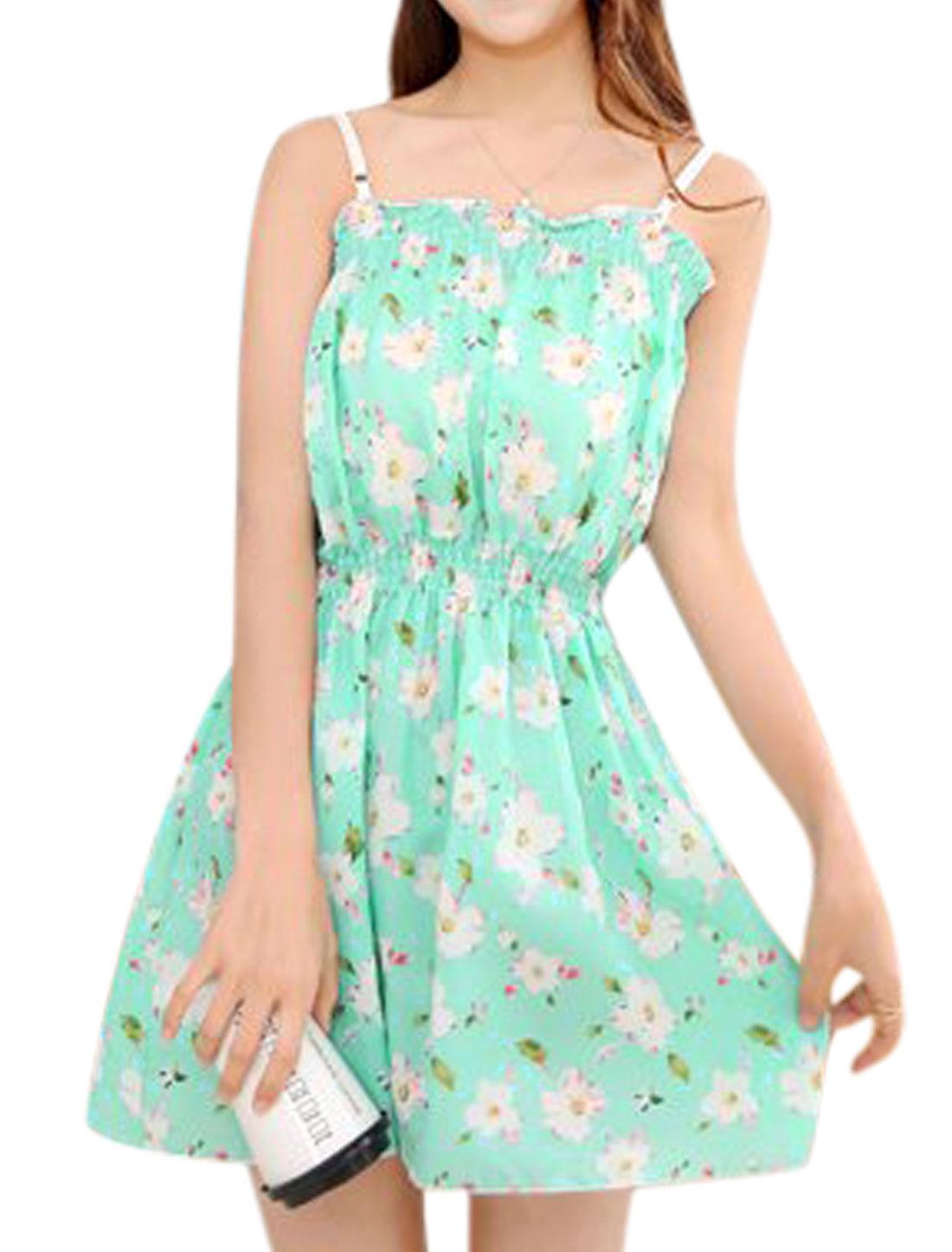Women Flower Print Elastic Waist Spaghetti Strap Casual Unlined Dresses Mint XS