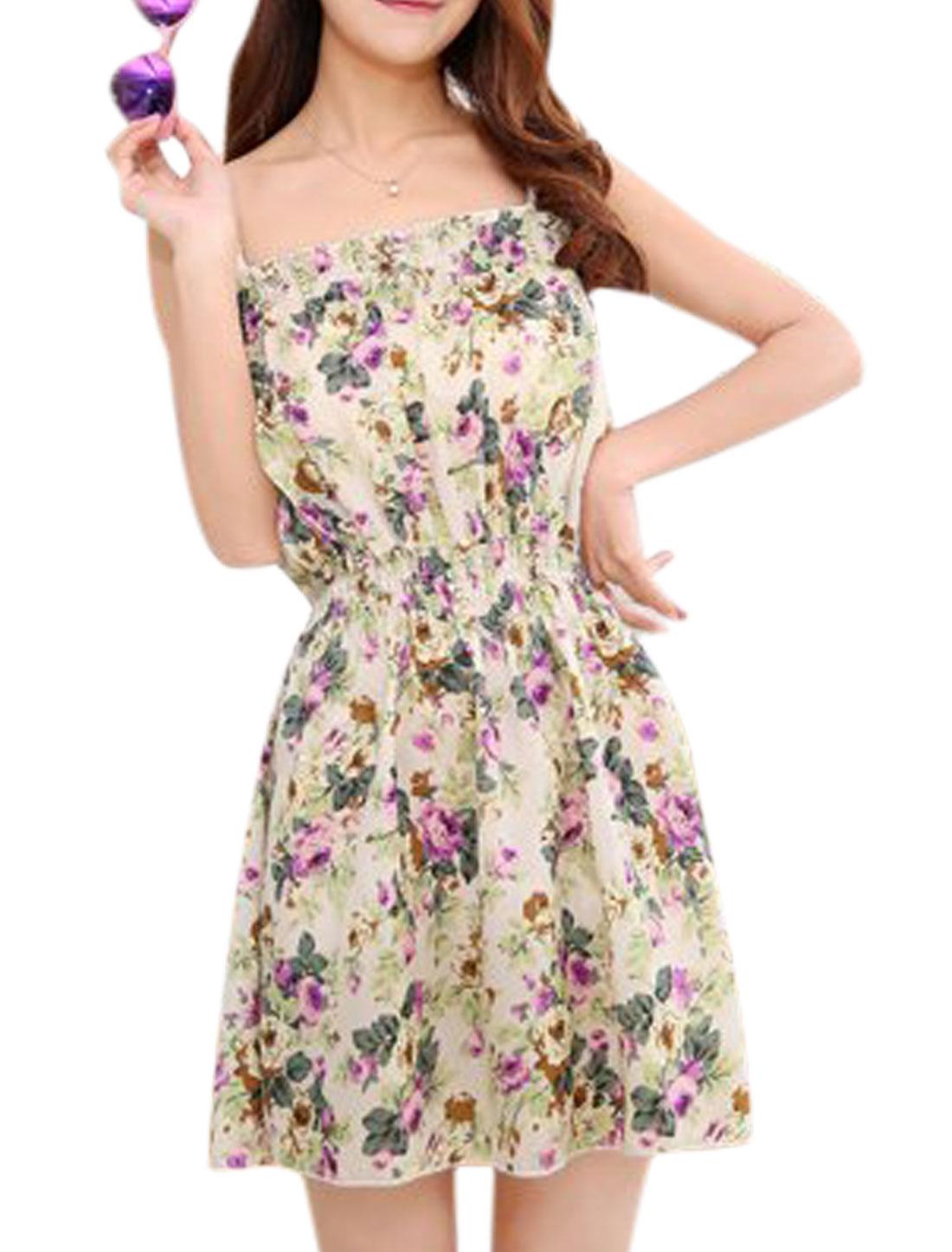 Women Flower Pattern Elastic Waist Spaghetti Strap Summer Dress Beige Purple XS