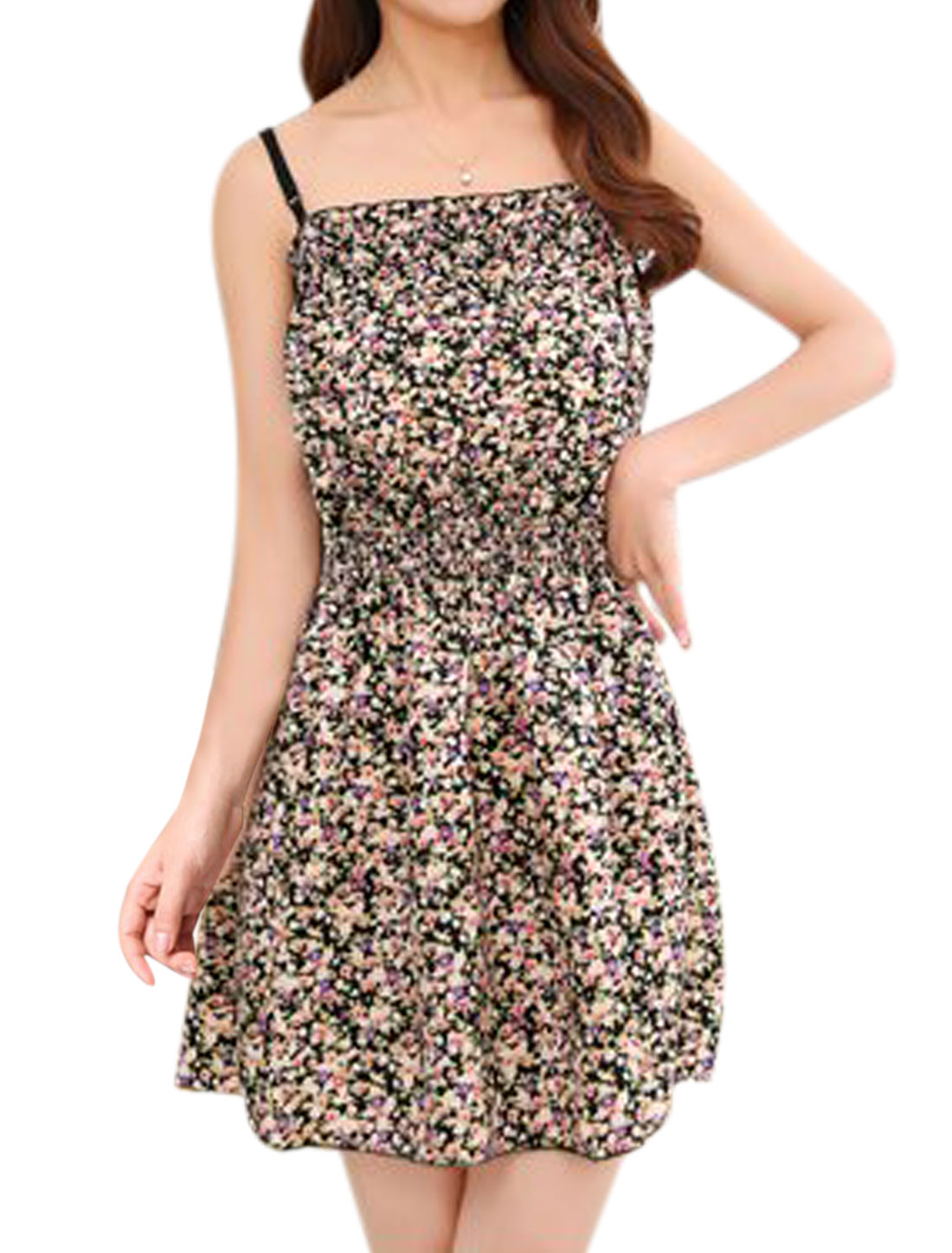Ladies Floral Print Spaghetti Strap Casual Sundress Black Pink XS