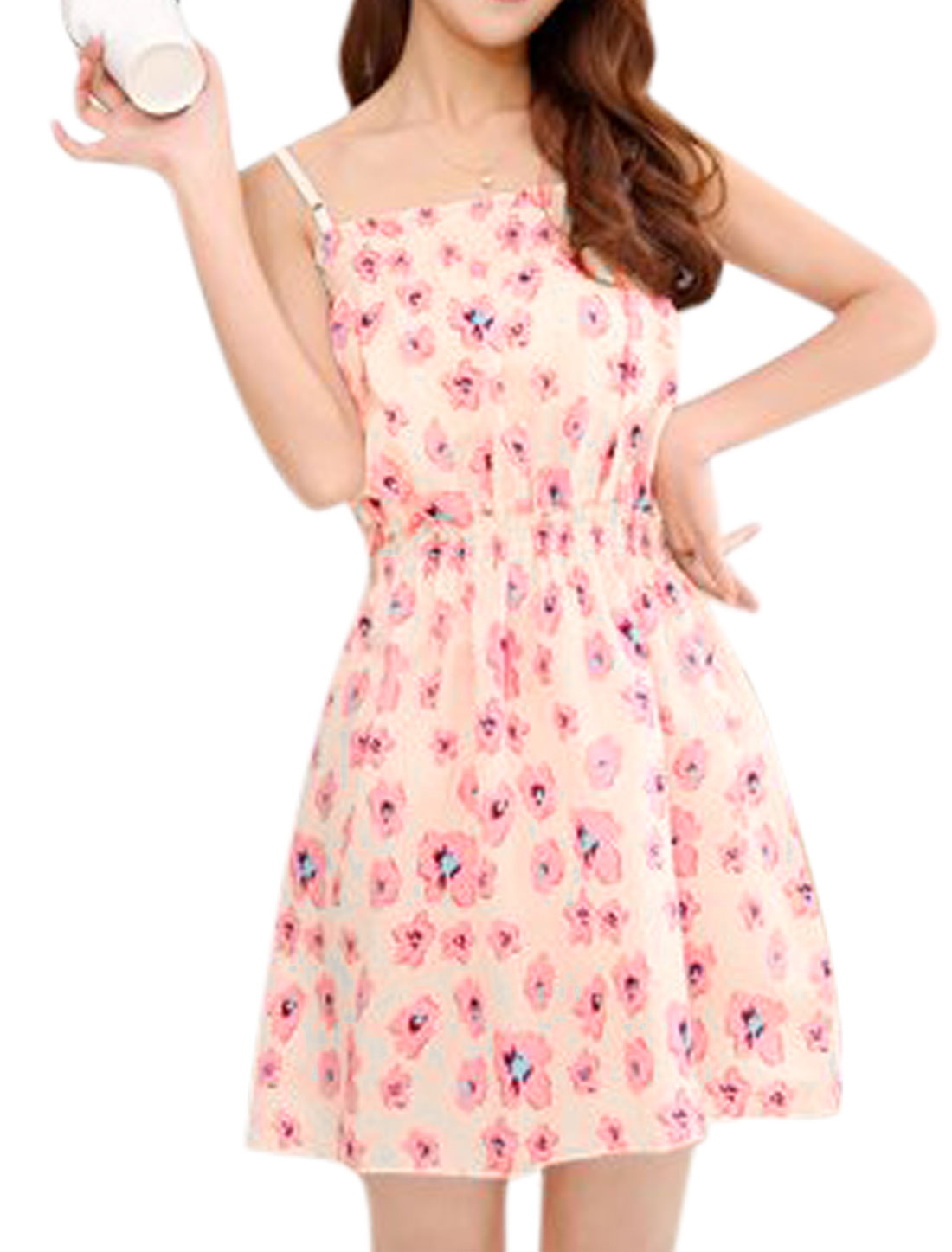 Ladies Floral Print Spaghetti Strap Unlined Tunic Dresses Beige Pink XS