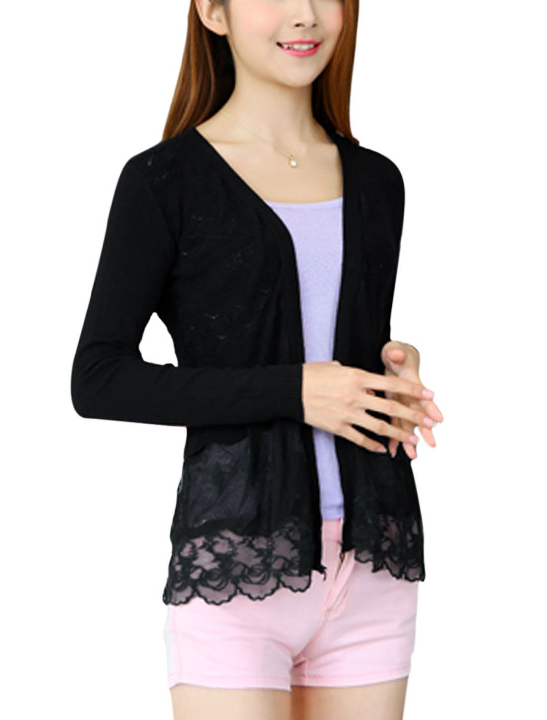 Women Front Opening Long Sleeves Textured Knit Cardigan Black XS