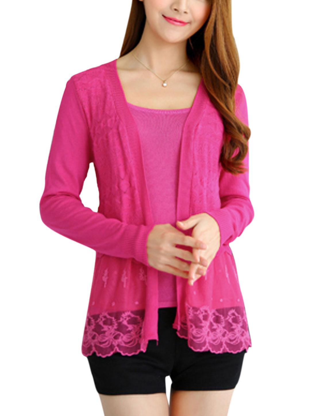 Women Long Sleeves Mesh Panel Embroidery Design Knit Cardigan Fuchsia XS