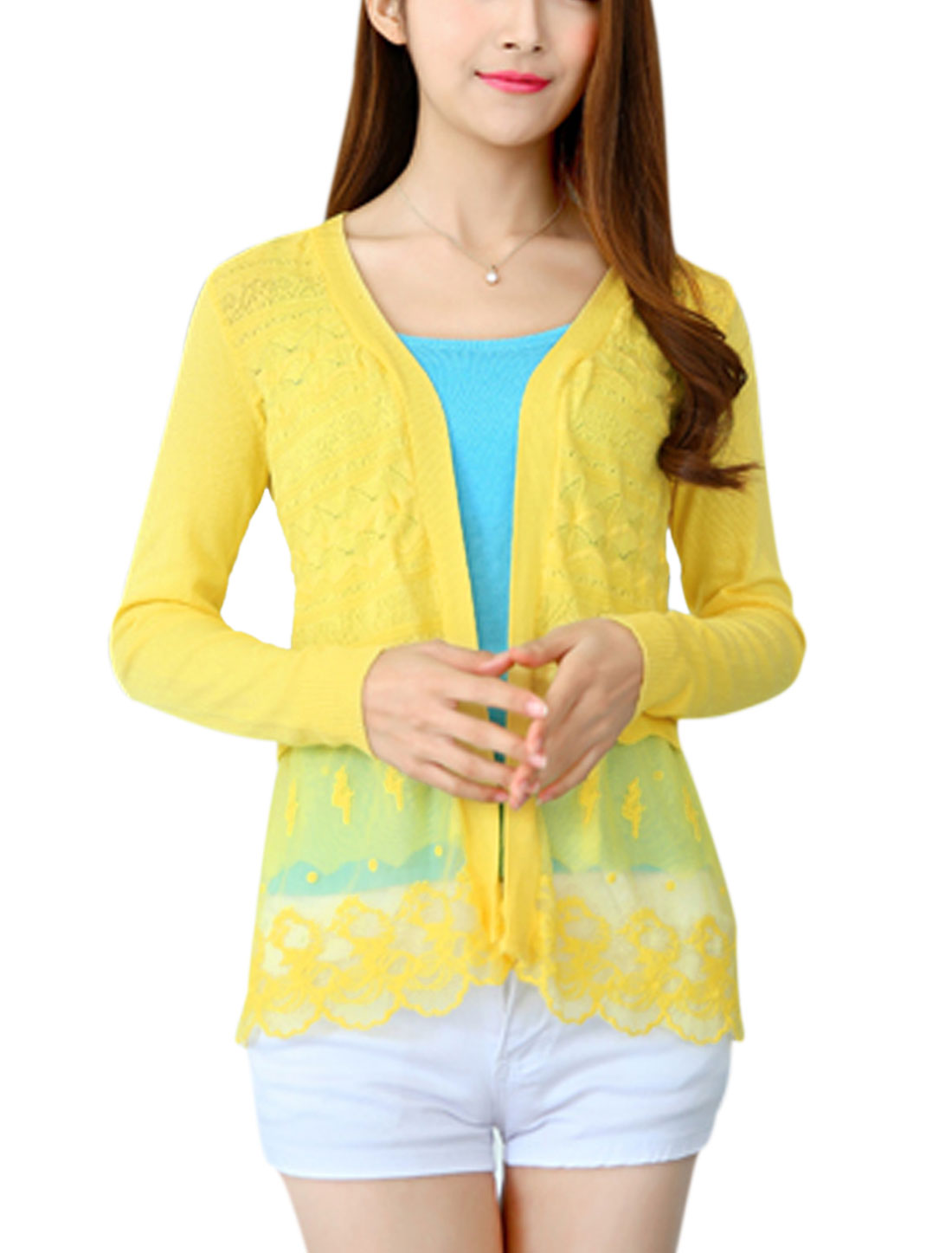 Ladies Long Sleeves Embroidery Design Buttonless Knit Cardigan Yellow XS
