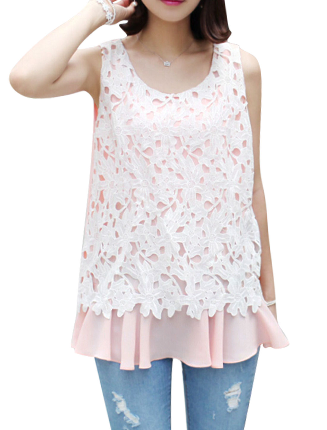 Women Round Neck Sleeveless Crochet Panel Casual Chiffon Tops Pale Pink XS