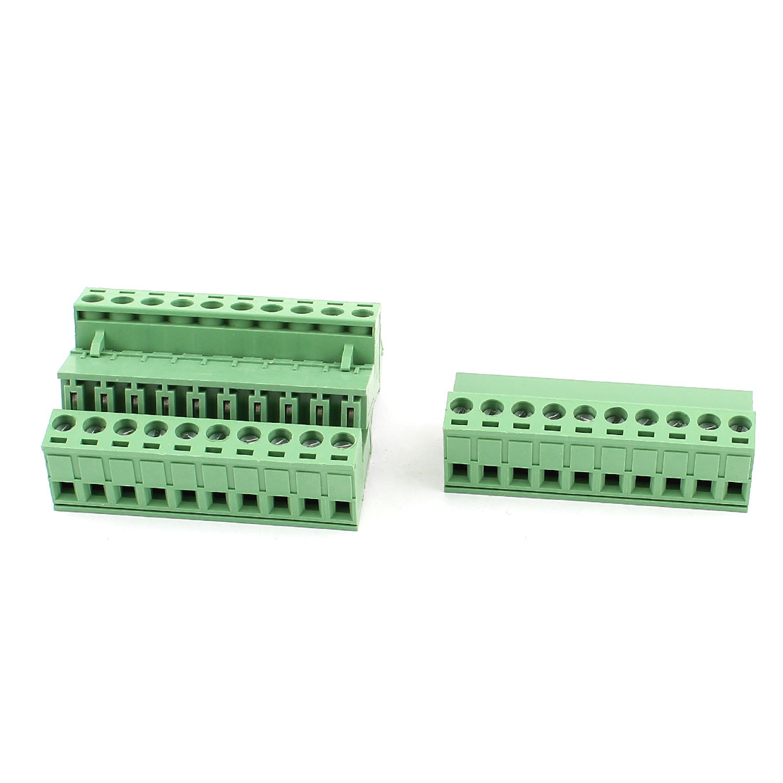 4 Pcs AC 300V 10A 10 Pins PCB Terminal Block Connector 5.08mm Pitch Green