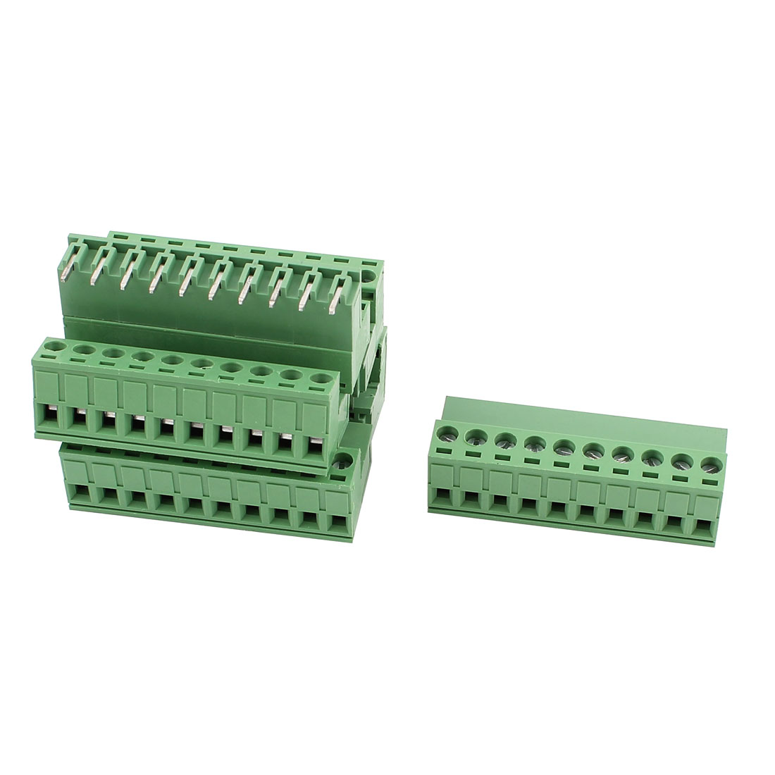 6 Pcs AC 300V 10A 10 Pins PCB Screw Terminal Block Adapter 5.08mm Pitch Green