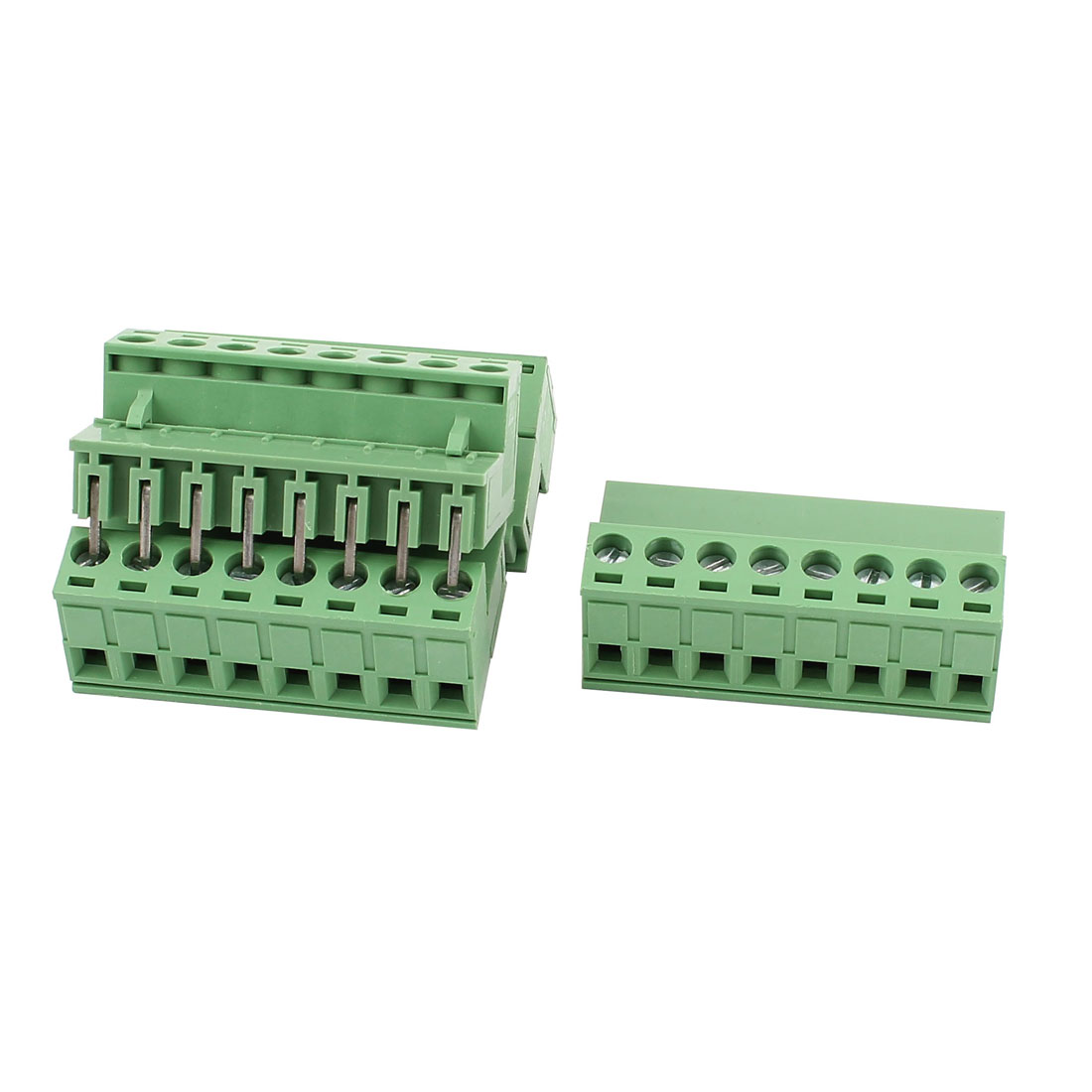 4 Pcs AC 300V 10A 8 Pins PCB Terminal Block Connector 5.08mm Pitch Green