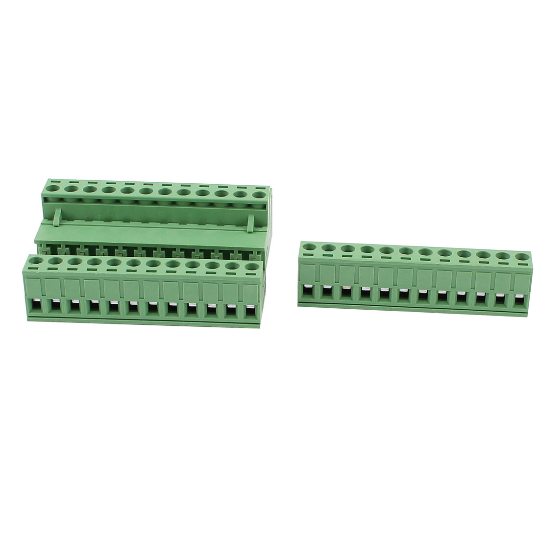 4 Pcs AC 300V 10A 12P PCB Terminal Block Connector 5.08mm Pitch Green