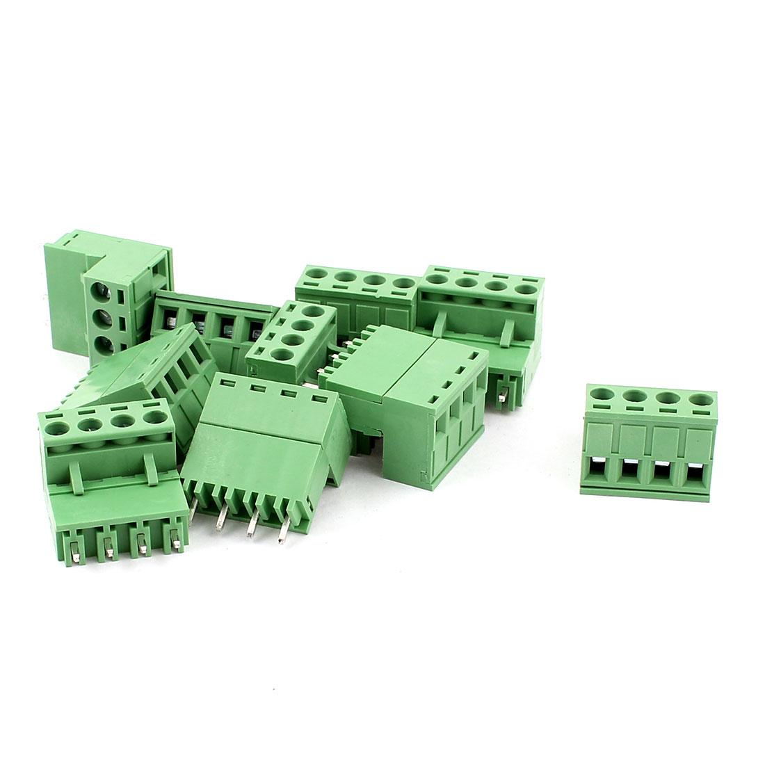 10 Pcs AC 300V 10A 4 Pins PCB Screw Terminal Block Connector 5.08mm Pitch Green