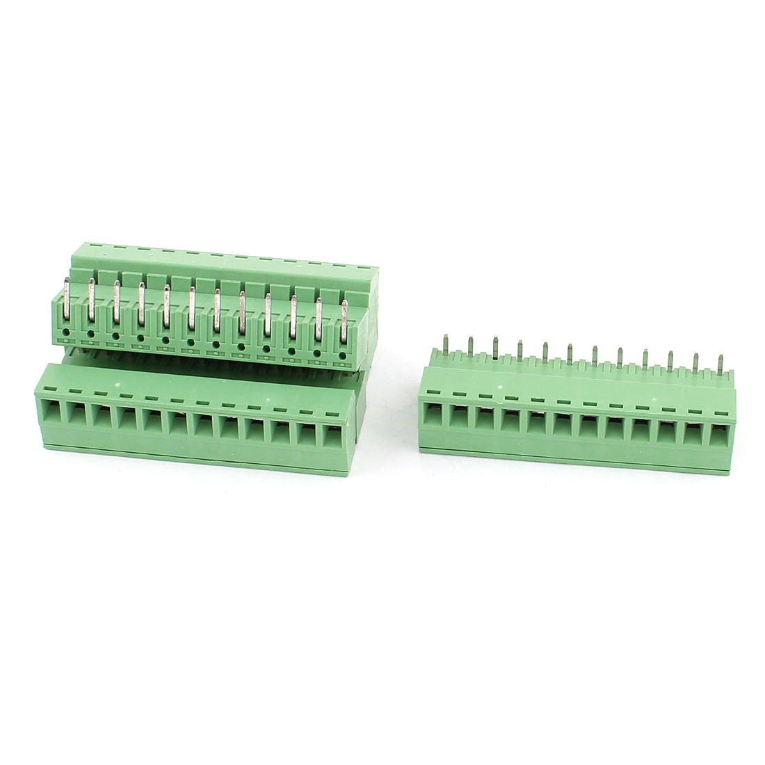 4 Pcs AC 300V 8A 12P PCB Screw Terminal Block Connector 3.81mm Pitch Green