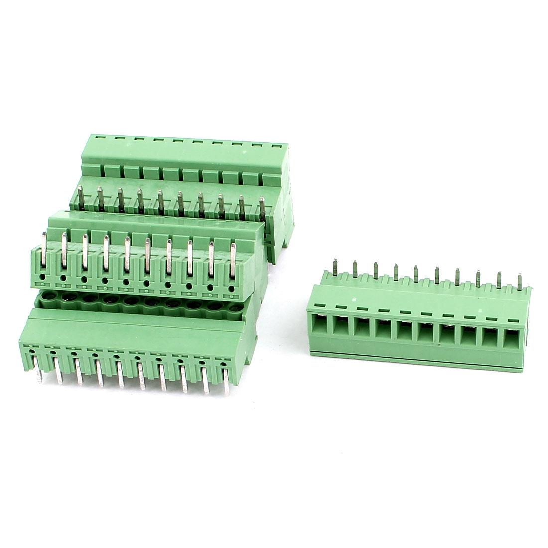 6 Pcs AC 300V 8A 10 Pins PCB Terminal Block Connector 3.81mm Pitch Green