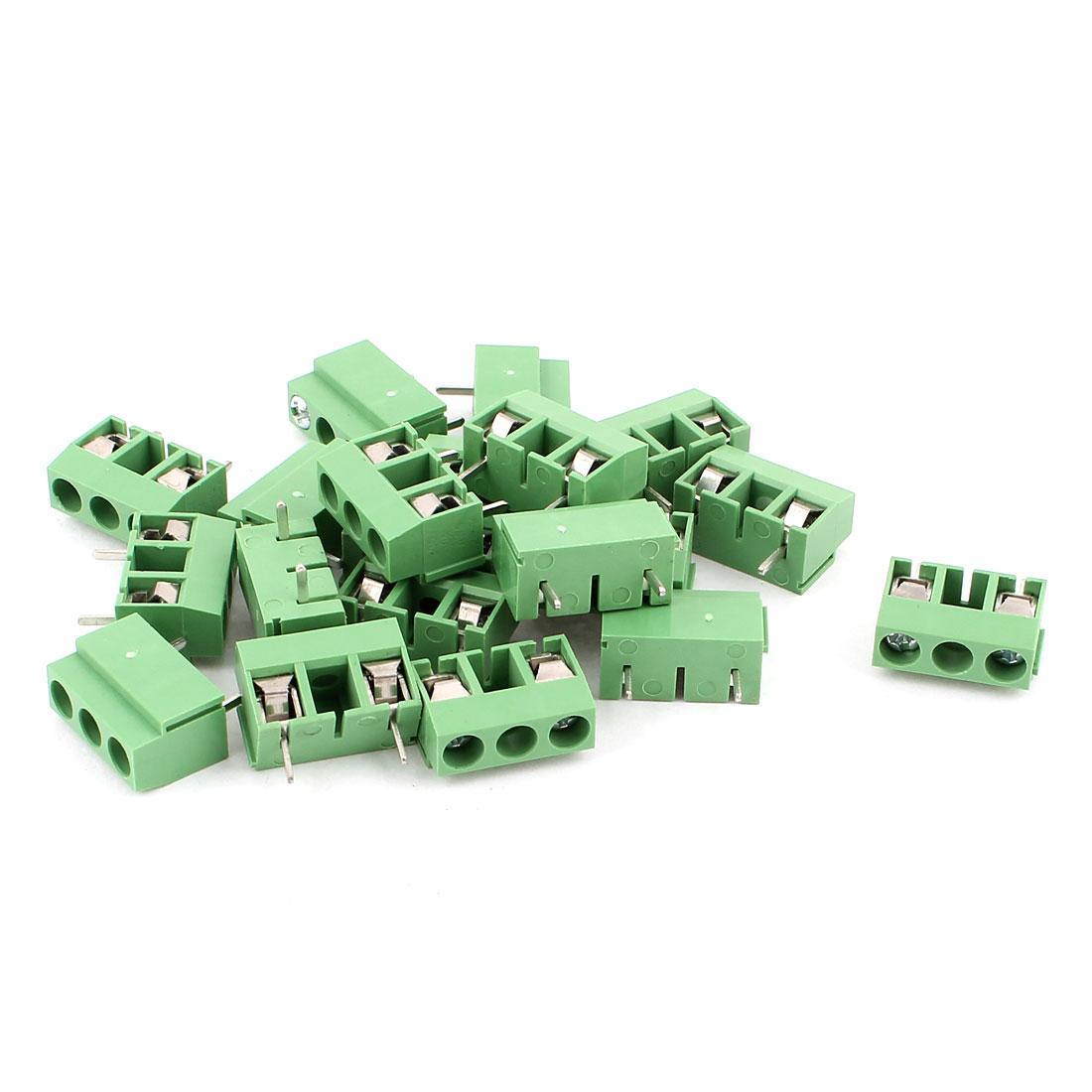 20 Pcs AC 300V 10A PCB Screw Terminal Block Connector 10mm Pitch Green