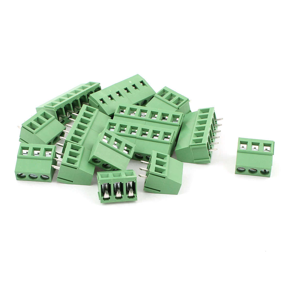10 Pcs AC 300V 10A 6 Pins PCB Screw Terminal Block Connector 5.0mm Pitch Green